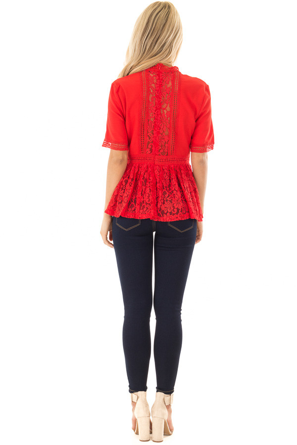 Poppy Red High Neck Top with Sheer Lace Contrast back full body