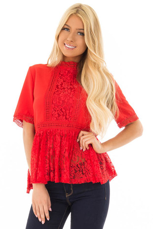 Poppy Red High Neck Top with Sheer Lace Contrast front close up