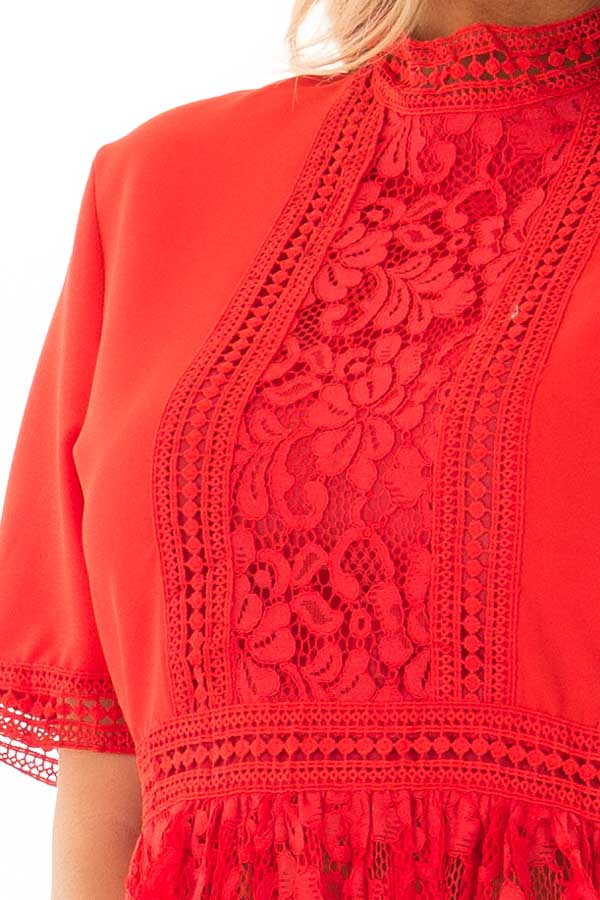 Poppy Red High Neck Top with Sheer Lace Contrast detail