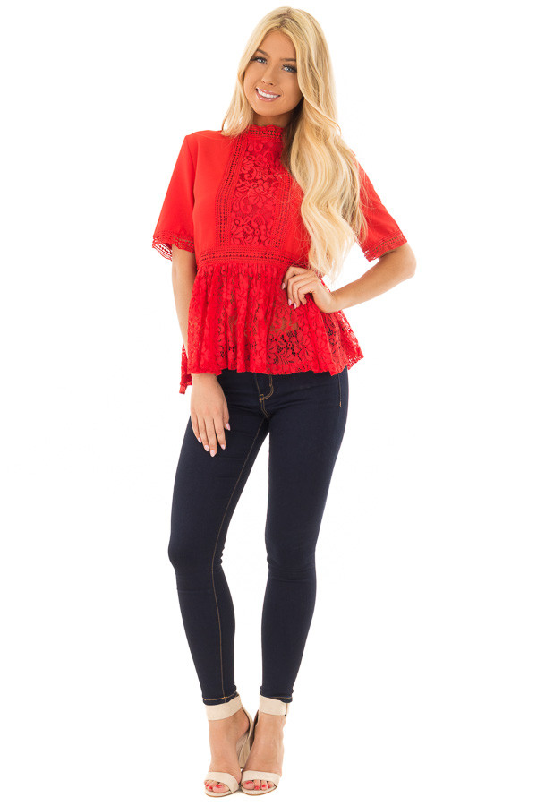 Poppy Red High Neck Top with Sheer Lace Contrast front full body