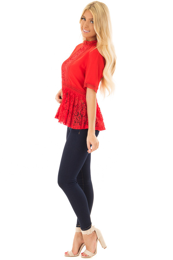 Poppy Red High Neck Top with Sheer Lace Contrast side full body