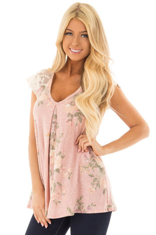 Dusty Rose Floral Top with Sheer Lace Short Sleeves front close up