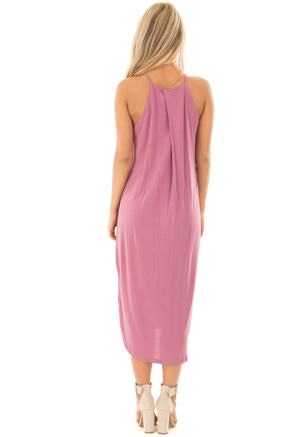 Light Plum Spaghetti Strap Dress with Side Slits back full body