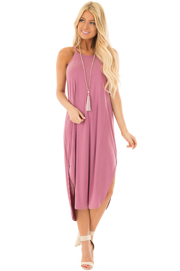 Light Plum Spaghetti Strap Dress with Side Slits front full body