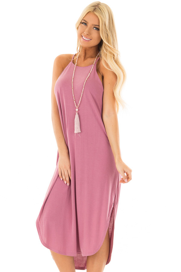 Light Plum Spaghetti Strap Dress with Side Slits front close up