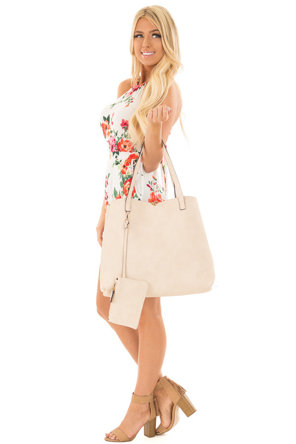 Tan and Ivory Reversible Tote with Tassel Detail side full body