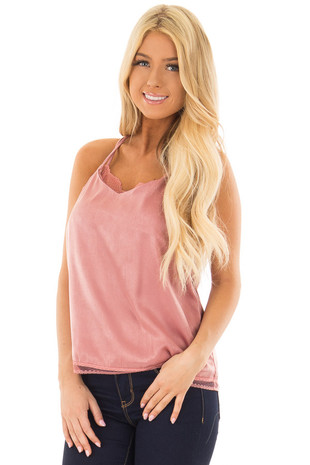 Light Mauve Two Piece Super Soft Lace Cami Top front close up