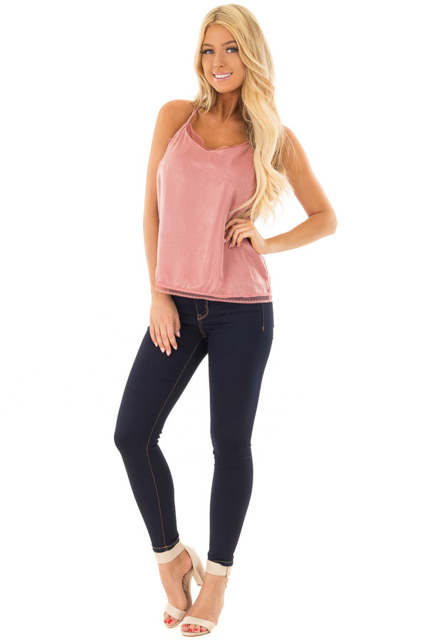Light Mauve Two Piece Super Soft Lace Cami Top front full body