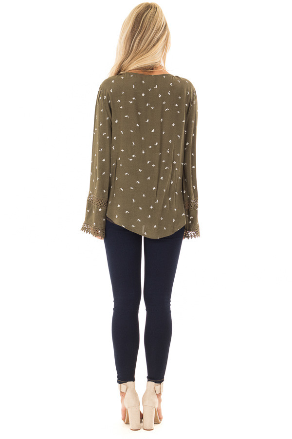 Olive Long Sleeve Surplice Top with Crochet Detail back full body