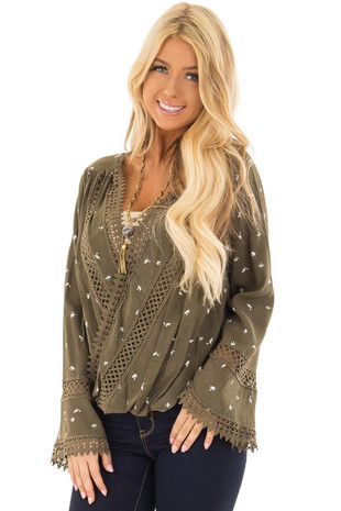 Olive Long Sleeve Surplice Top with Crochet Detail front close up