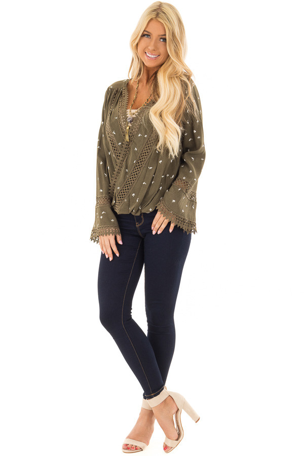 Olive Long Sleeve Surplice Top with Crochet Detail front full body