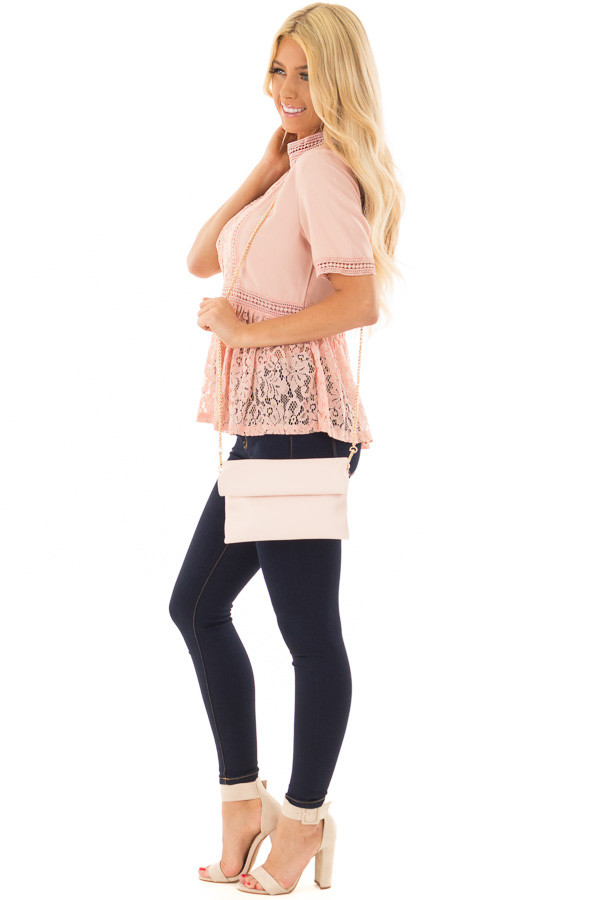 Light Rose Faux Leather Roll Over Clutch side full body