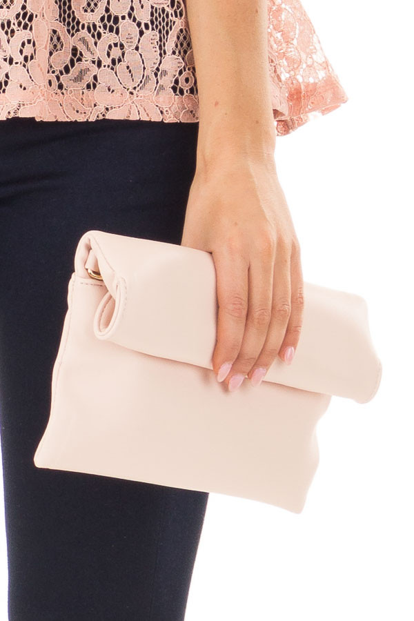 Light Rose Faux Leather Roll Over Clutch detail