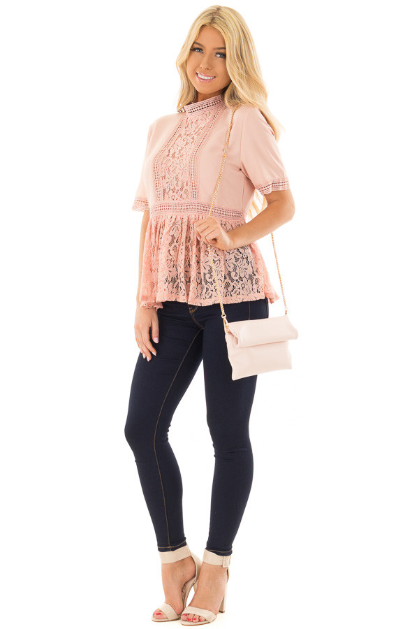 Light Rose Faux Leather Roll Over Clutch front full body