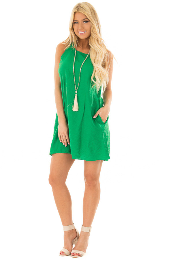 Kelly Green Shift Dress with Ruffle Back Detail front full body