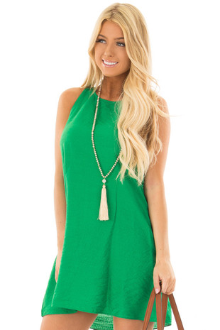 Kelly Green Shift Dress with Ruffle Back Detail front close up