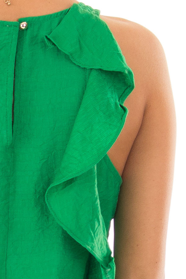 Kelly Green Shift Dress with Ruffle Back Detail detail