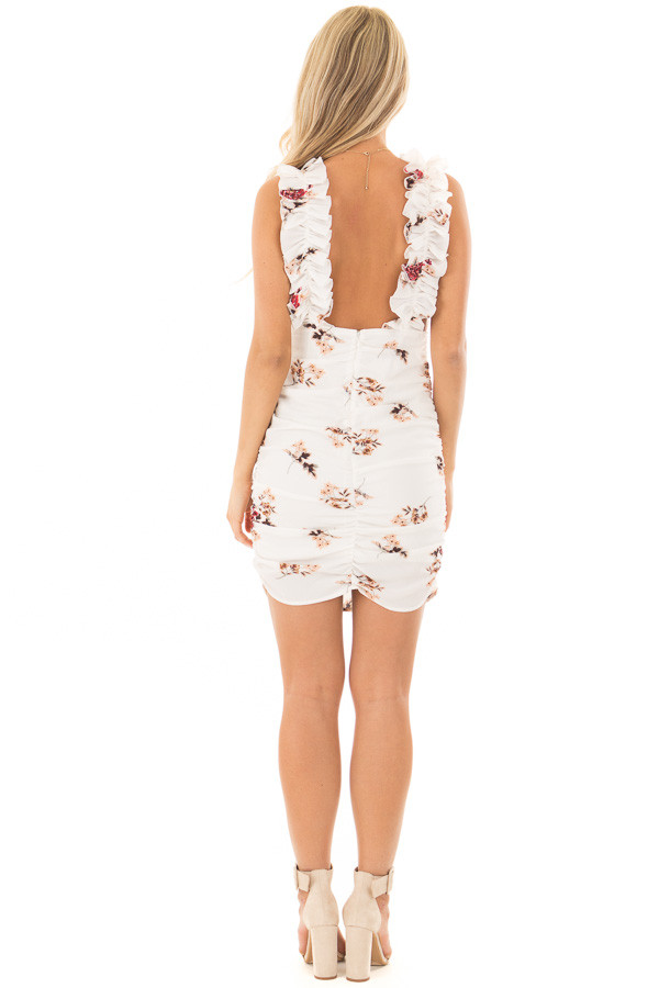 Ivory Floral Print Dress with Side Ruching back full body