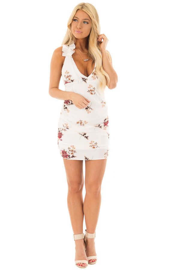 Ivory Floral Print Dress with Side Ruching front full body