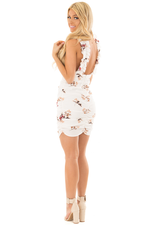 Ivory Floral Print Dress with Side Ruching side full body