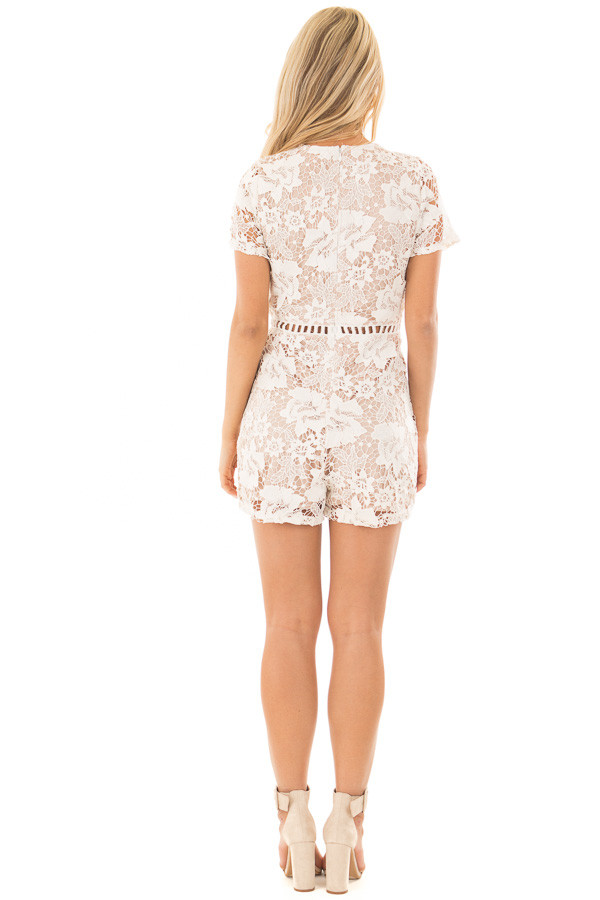 Ivory Floral Lace Romper with Sheer Details back full body