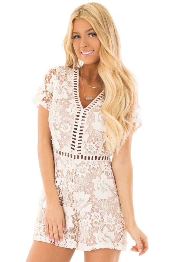 Ivory Floral Lace Romper with Sheer Details front close up