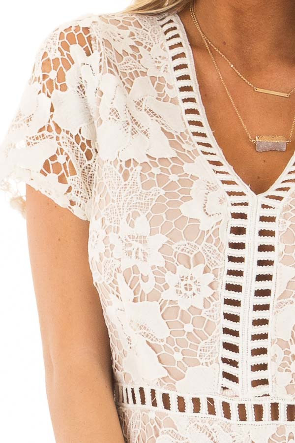 Ivory Floral Lace Romper with Sheer Details detail