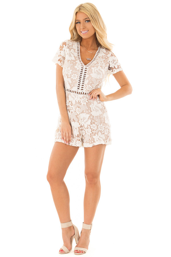 Ivory Floral Lace Romper with Sheer Details front full body