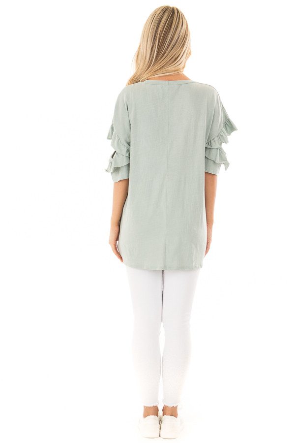 Mint Ruffle Top with Sleeve Cutout Detail back full body