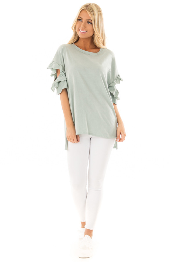 Mint Ruffle Top with Sleeve Cutout Detail front full body