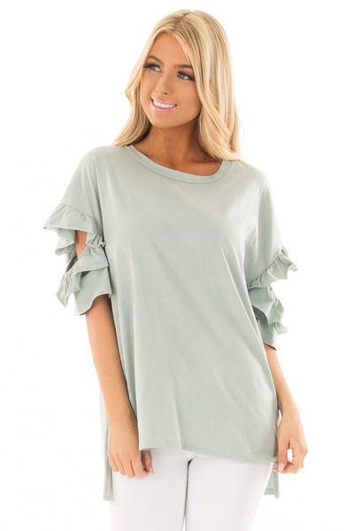 Mint Ruffle Top with Sleeve Cutout Detail front closeup