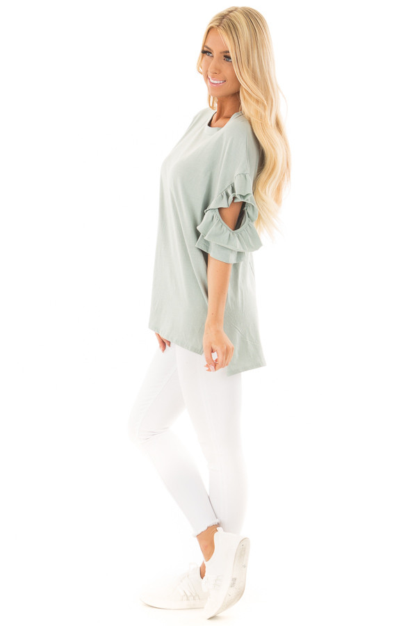 Mint Ruffle Top with Sleeve Cutout Detail side full body
