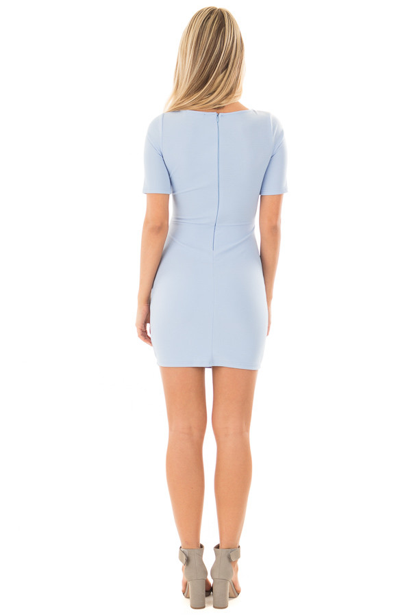 Powder Blue Fitted Dress with Front Tie Detail back full body
