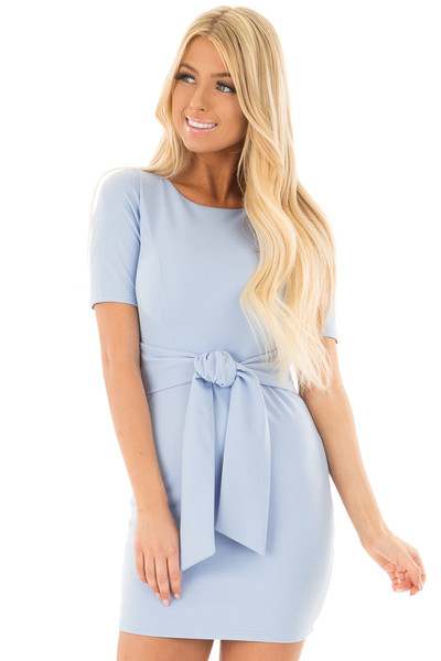 Powder Blue Fitted Dress with Front Tie Detail front closeup