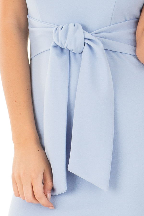 Powder Blue Fitted Dress with Front Tie Detail front detail