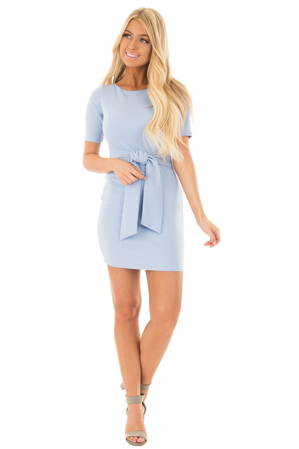 Powder Blue Fitted Dress with Front Tie Detail front full body