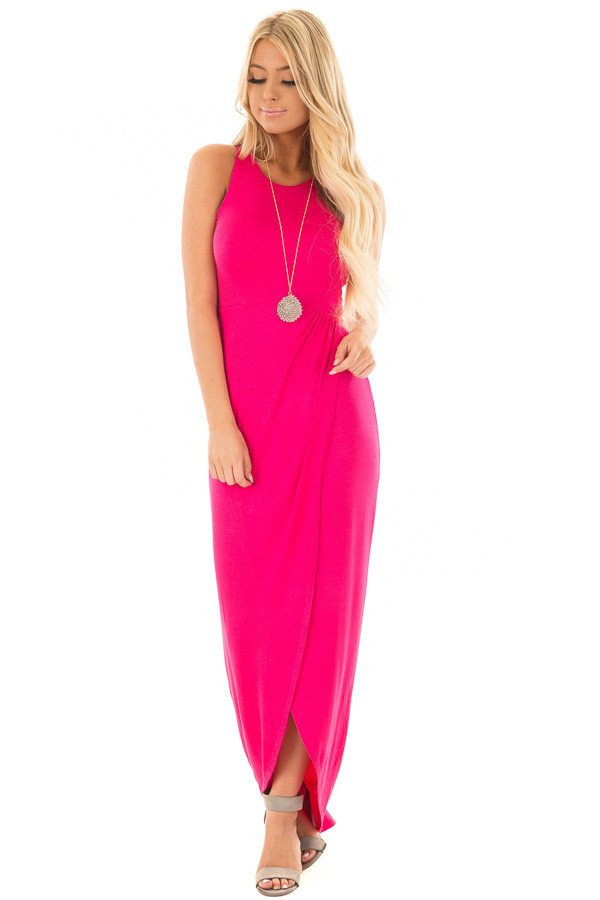 Hot Pink Racerback Maxi Dress with Cross Over Skirt Detail front full body