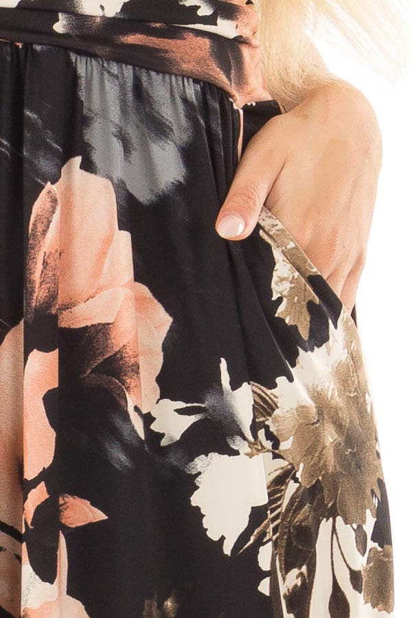 Black Watercolor Floral Strapless Maxi Dress with Pockets front detail