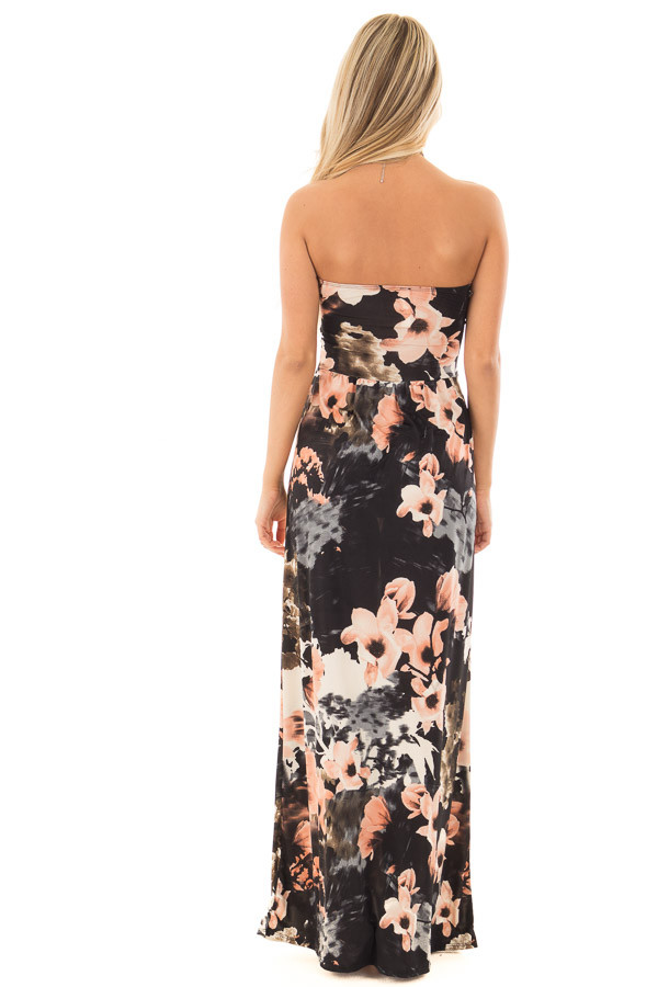 Black Watercolor Floral Strapless Maxi Dress with Pockets back full body