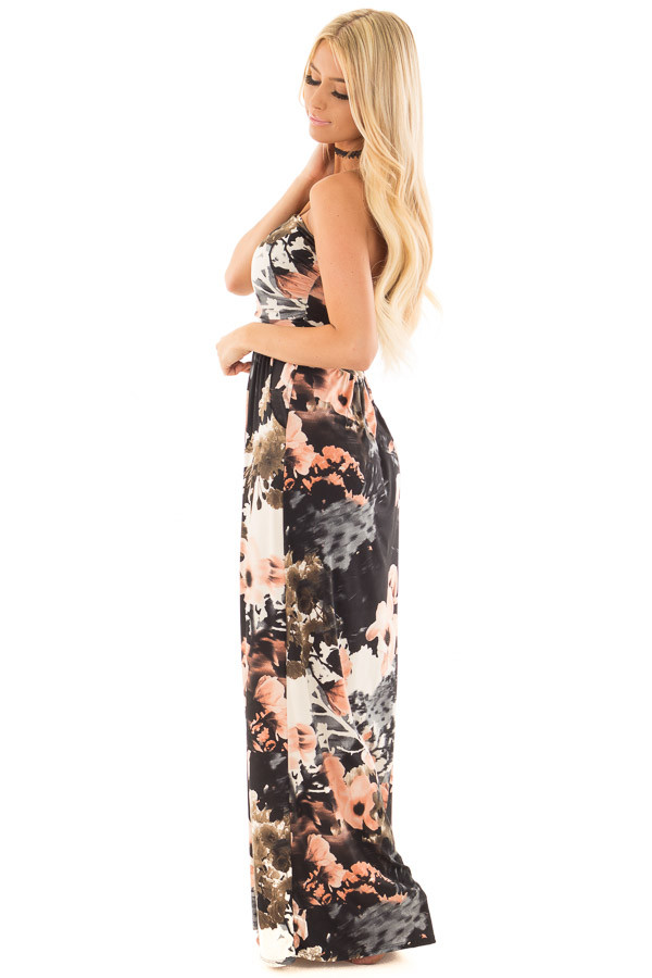 Black Watercolor Floral Strapless Maxi Dress with Pockets side full body