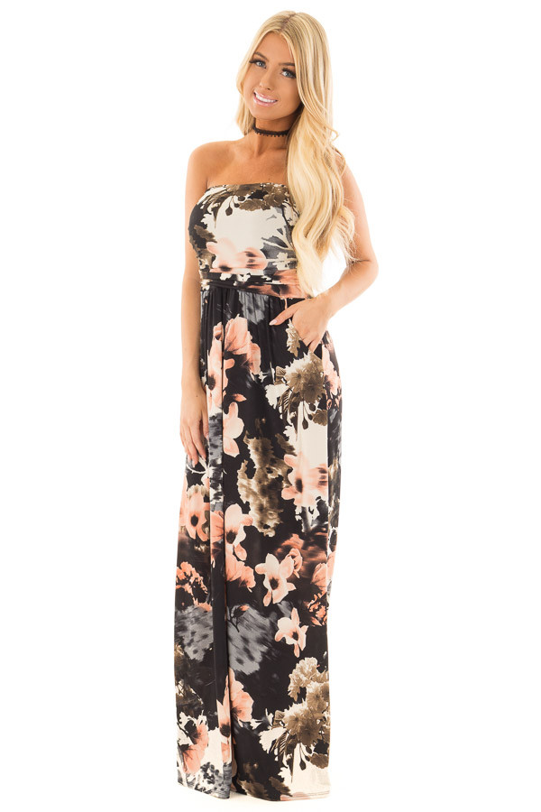 Black Watercolor Floral Strapless Maxi Dress with Pockets front full body