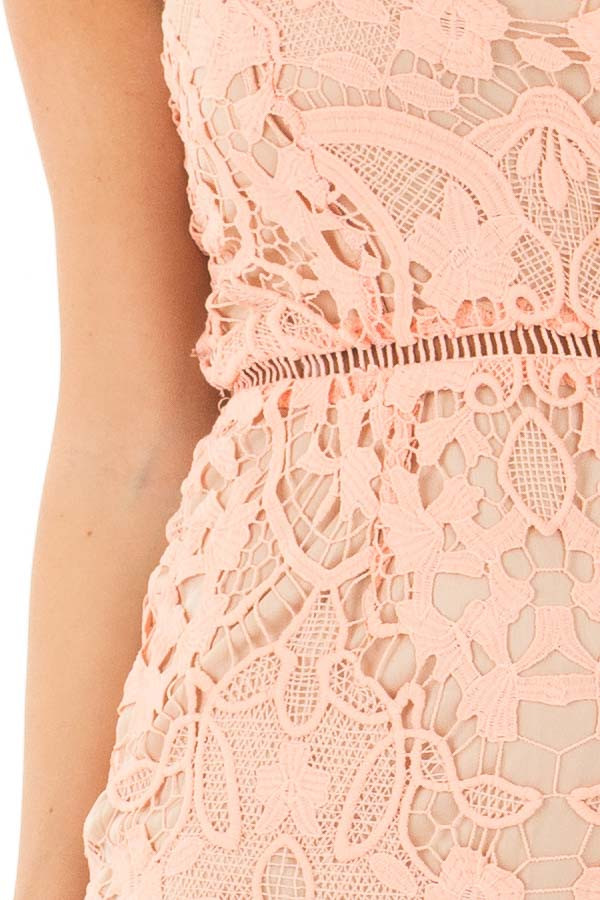 Blush Fitted Spaghetti Strap Lace Dress with Open Back detail