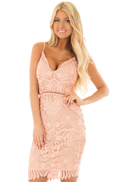 Blush Fitted Spaghetti Strap Lace Dress with Open Back front close up
