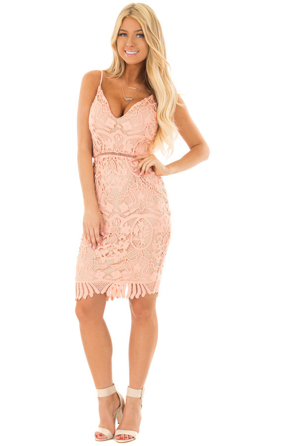 Blush Fitted Spaghetti Strap Lace Dress with Open Back front full body
