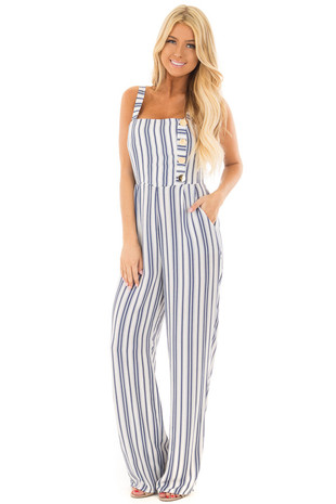Off White and Deep Blue Striped Jumpsuit with Side Pockets front full body
