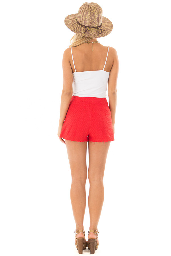 Poppy Red High Waisted Shorts with Waist Tie back full body