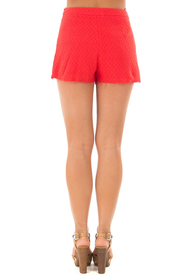 Poppy Red High Waisted Shorts with Waist Tie back view