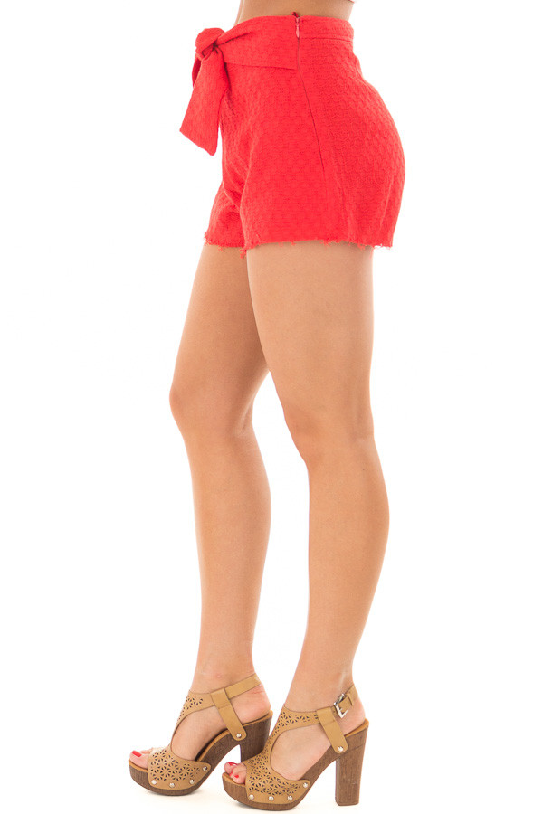 Poppy Red High Waisted Shorts with Waist Tie side view