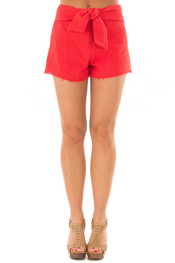 Poppy Red High Waisted Shorts with Waist Tie front view