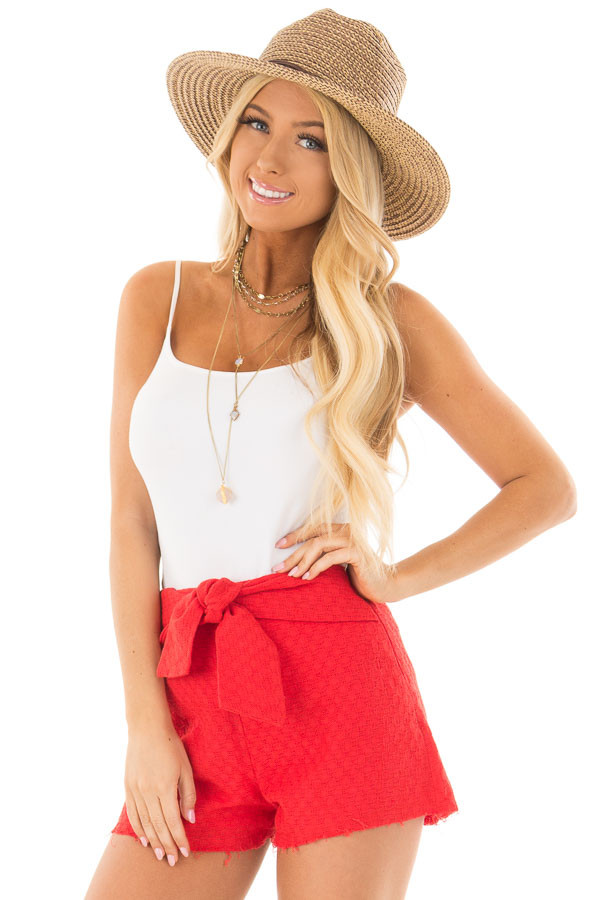 Poppy Red High Waisted Shorts with Waist Tie front close up